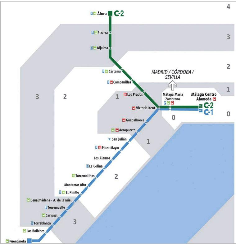 Plano de Cercanías Málaga