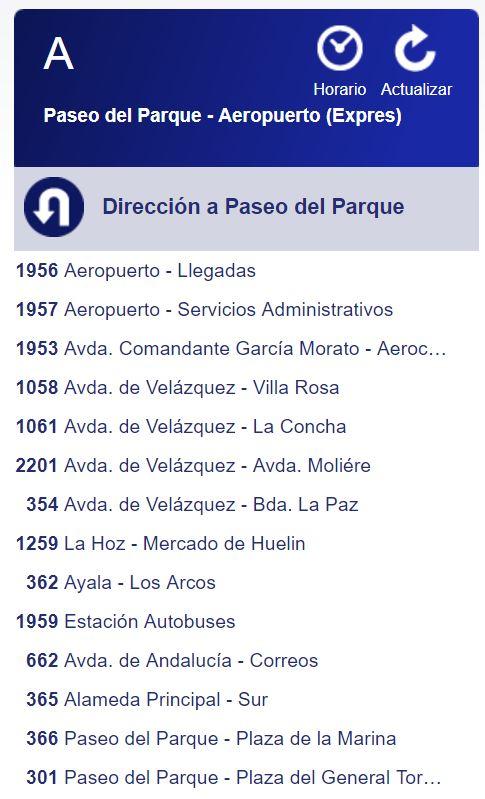 Ruta Bus A Aeropuerto dirección Málaga