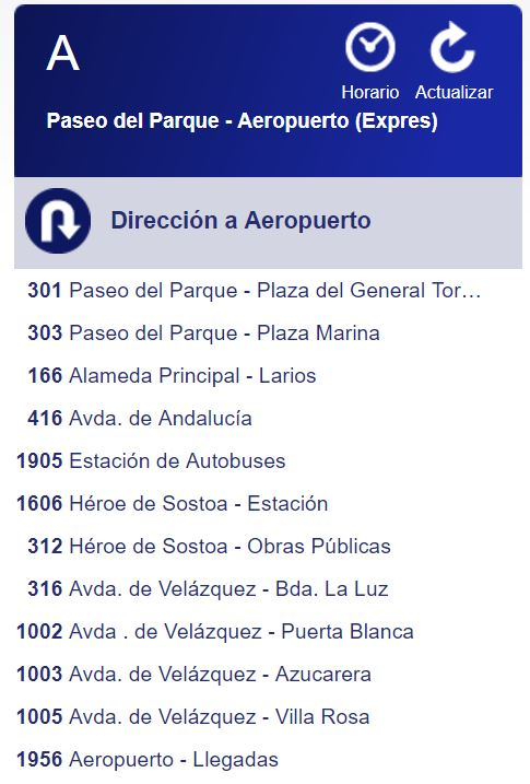 Ruta Bus A Málaga dirección Aeropuerto