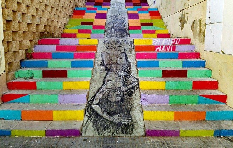 Escaleras de colores en Lagunillas