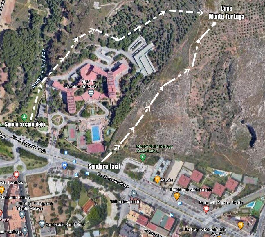 Mapa-Monte-Tortuga-Senderismo-MAlaga