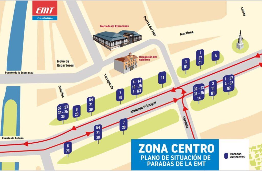 Autobuses-urbanos-malaga-plano-zona-centro